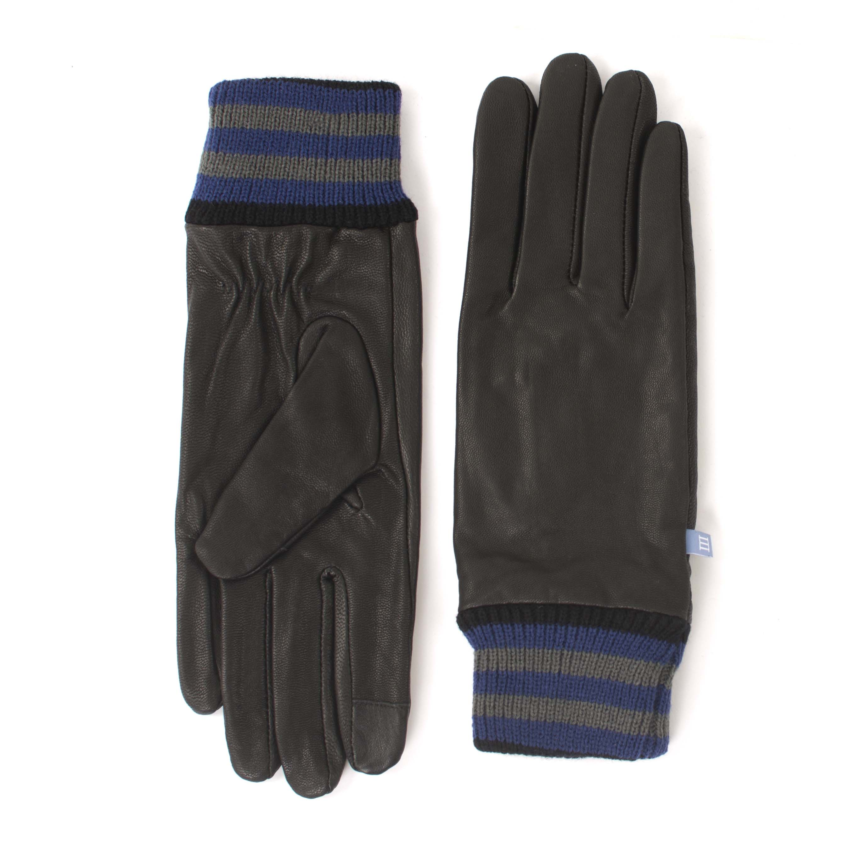 Black gloves with striped cuff and touchscreen fingertips