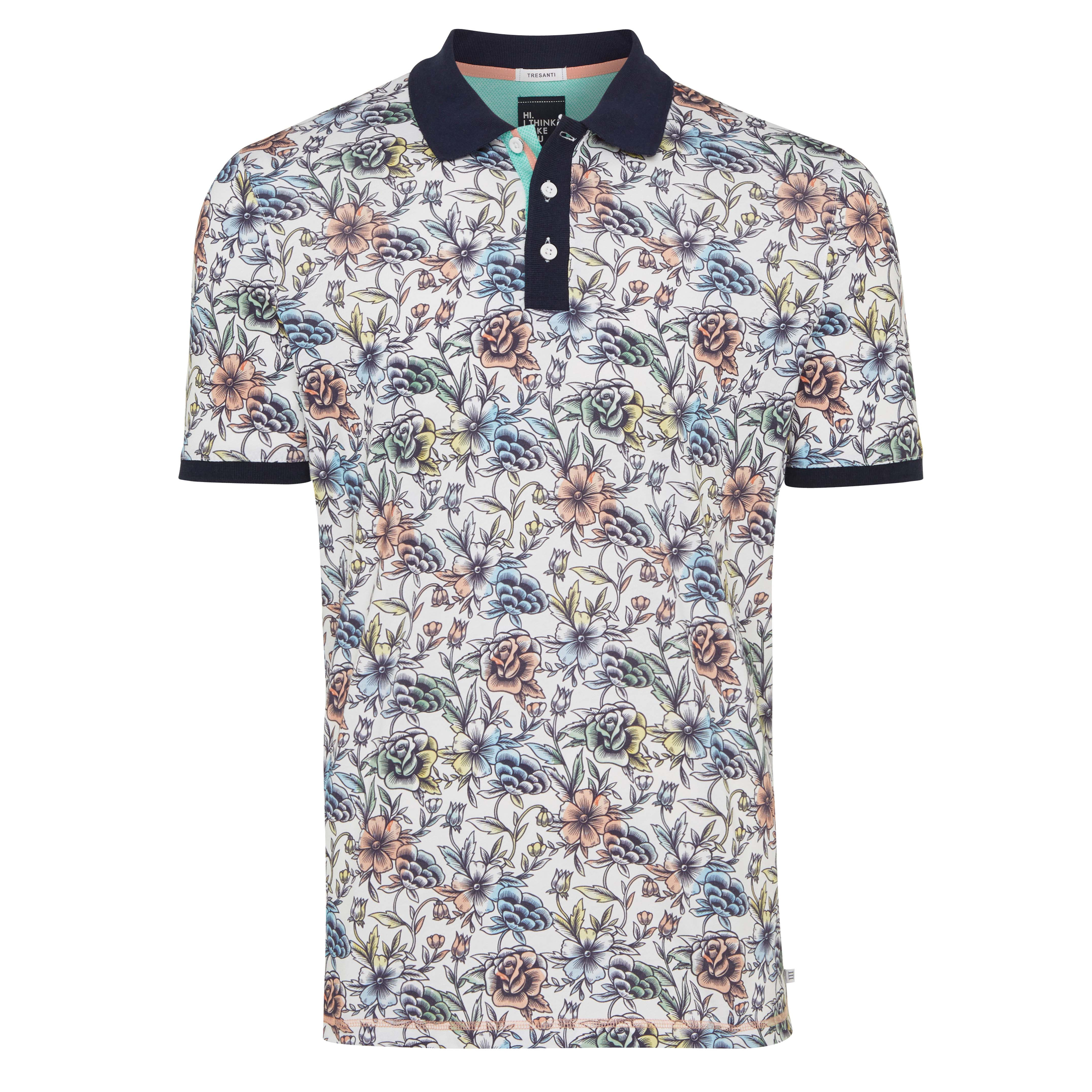 Troy | Poloshirt printed flowers multicolour