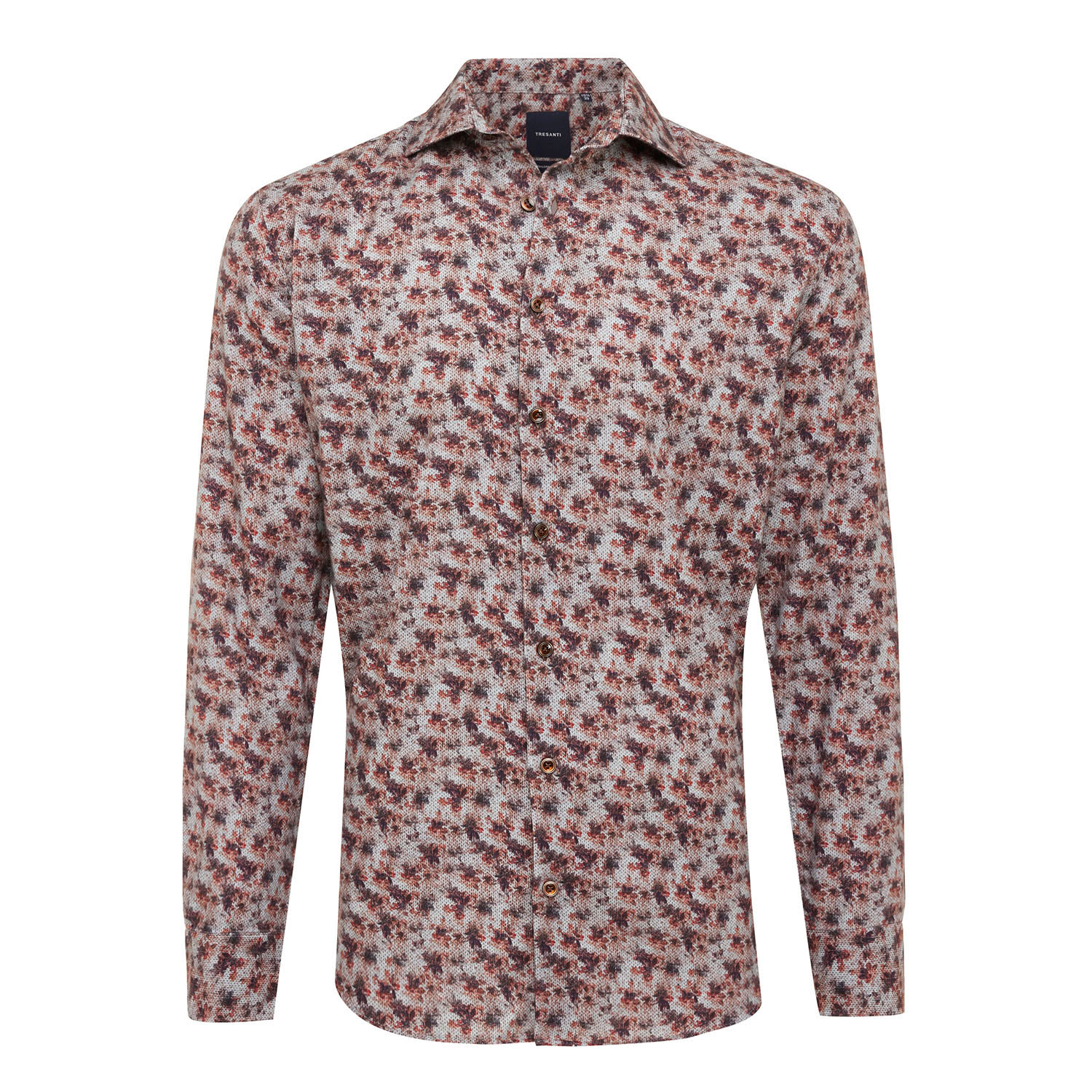 ELVAN | Shirt with button closure, burned red fantasy print