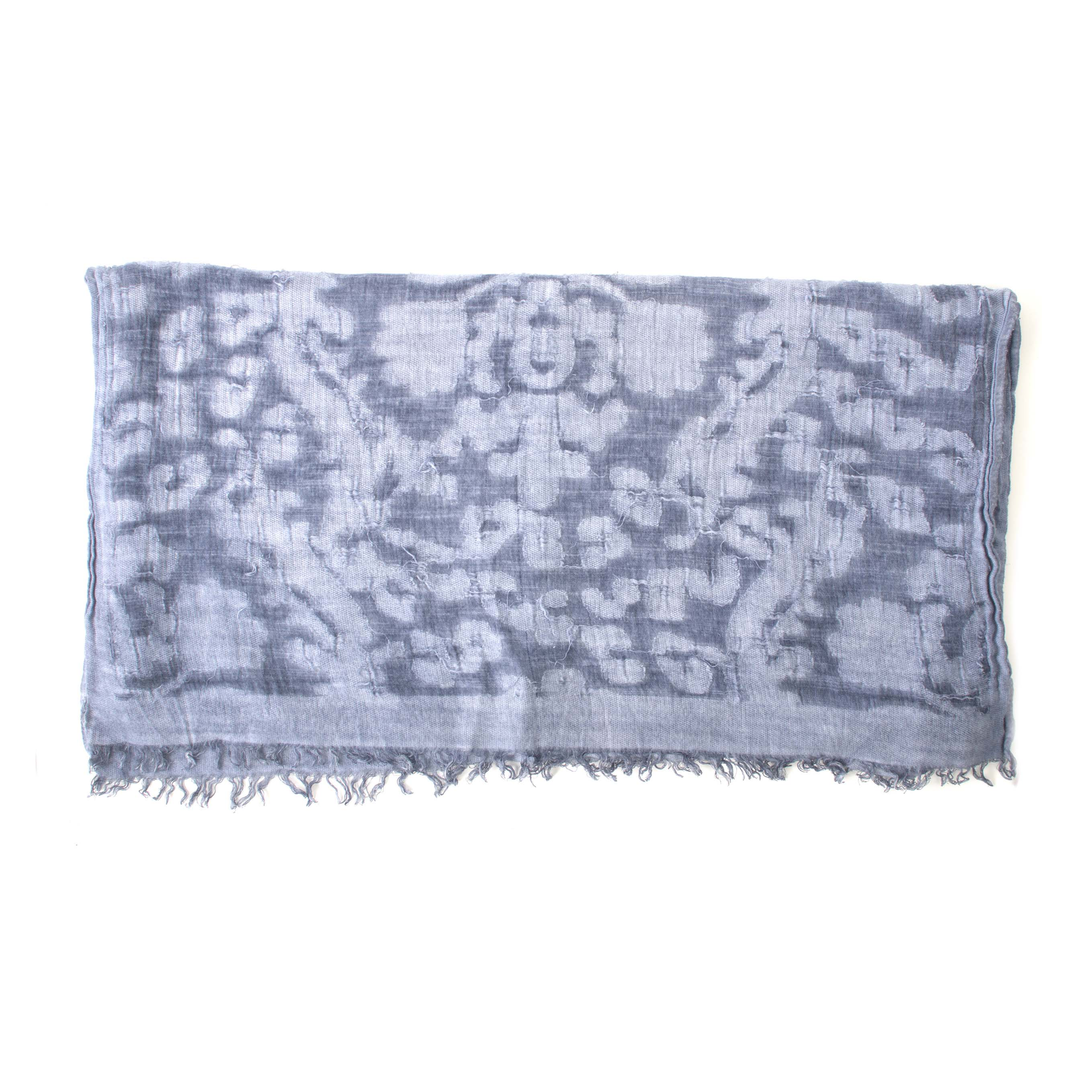 Blue with grey scarf, viscose/cotton blend