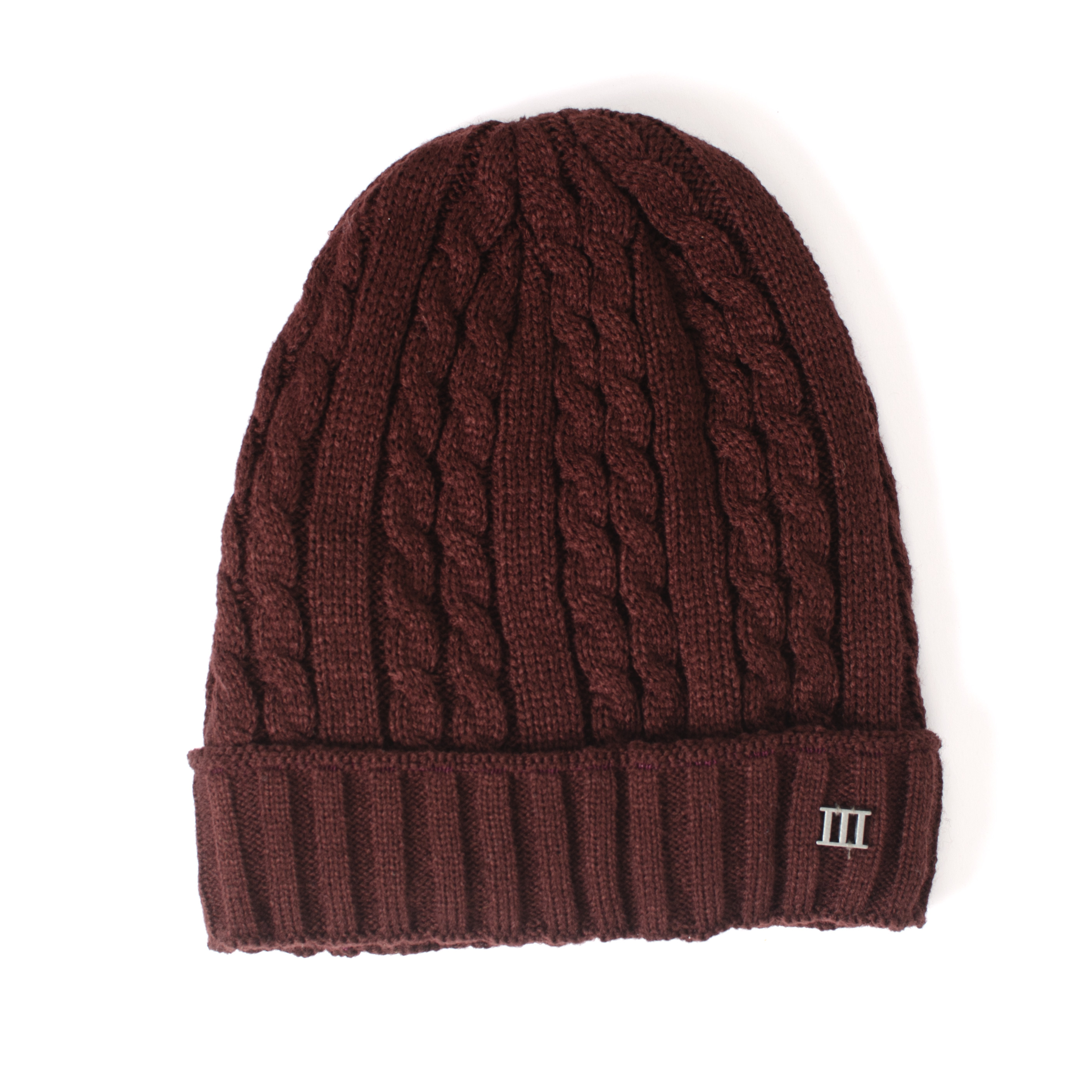 Jauk | Cable knitted beanie with cuff burgundy