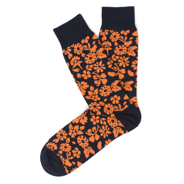 Socks navy, orange flower