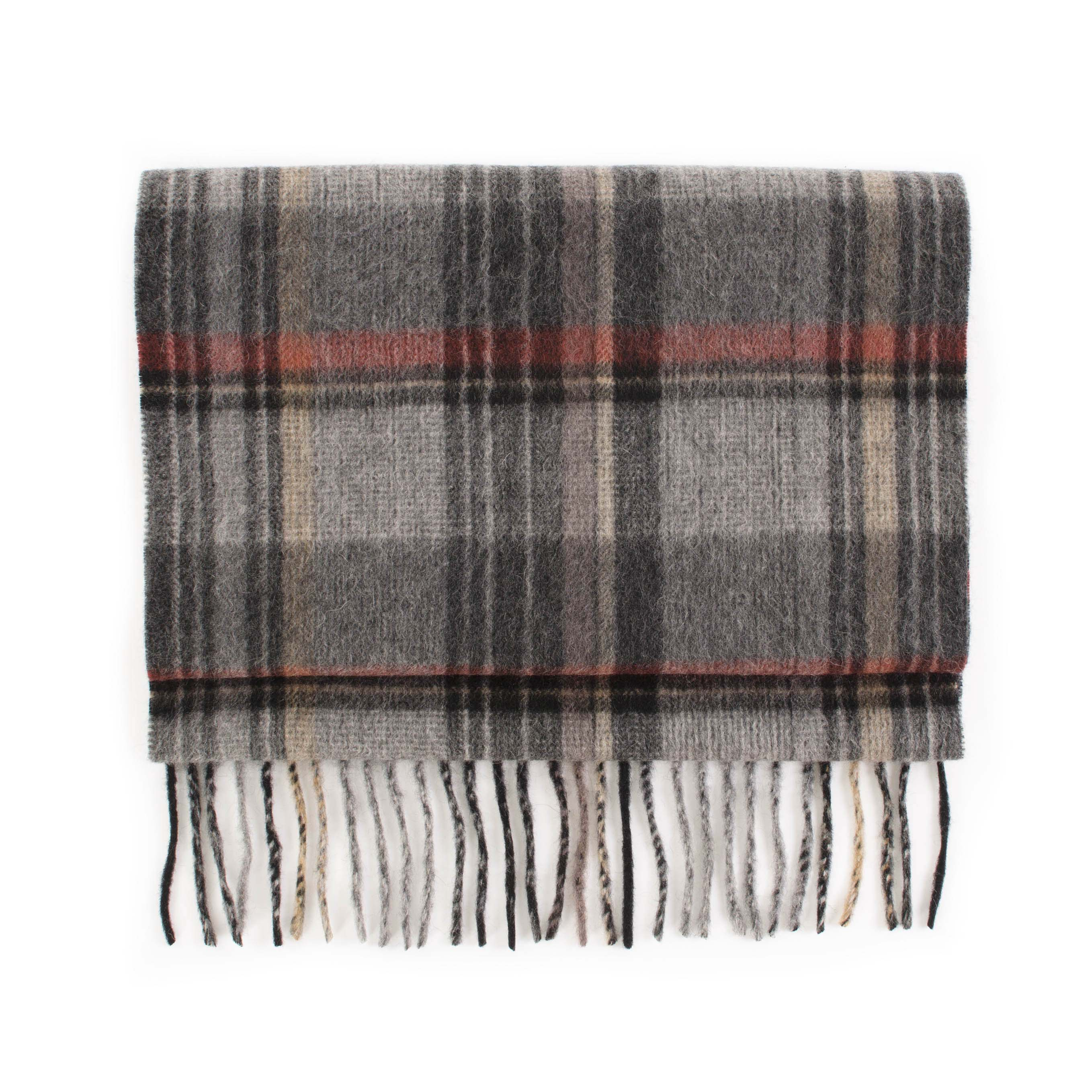 Cashmere scarf check, grey, red