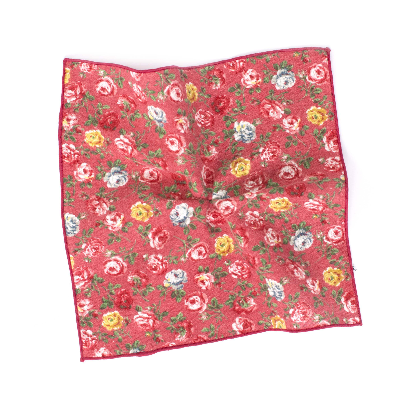 Pocket sqaure cotton bold flowered pink