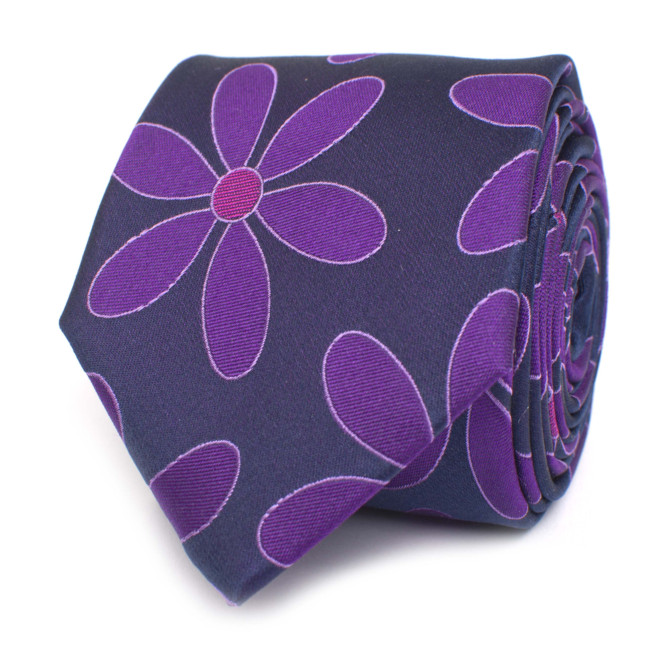Tie with flower design purple silk