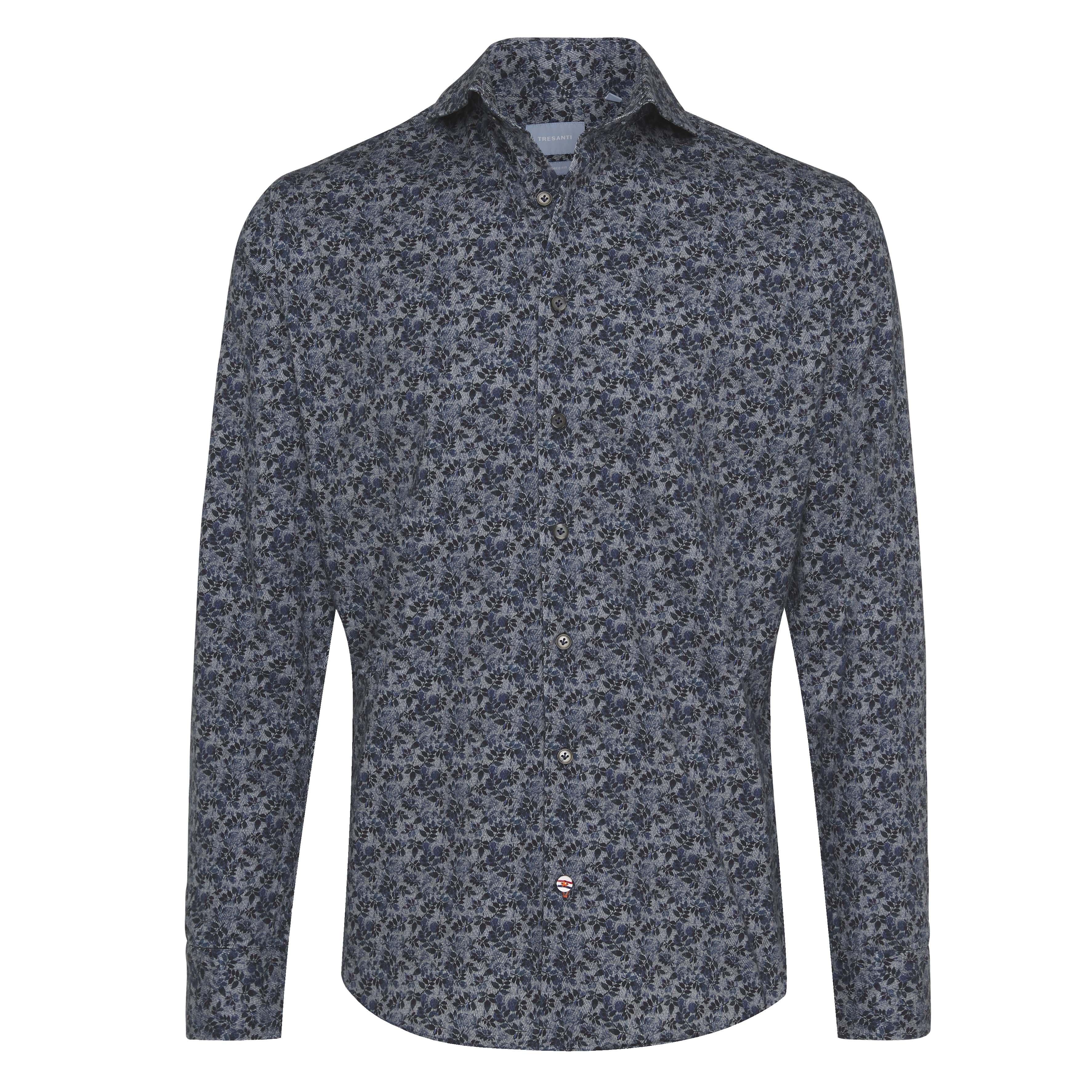 Jericho   Shirt flower print on herringbone blue