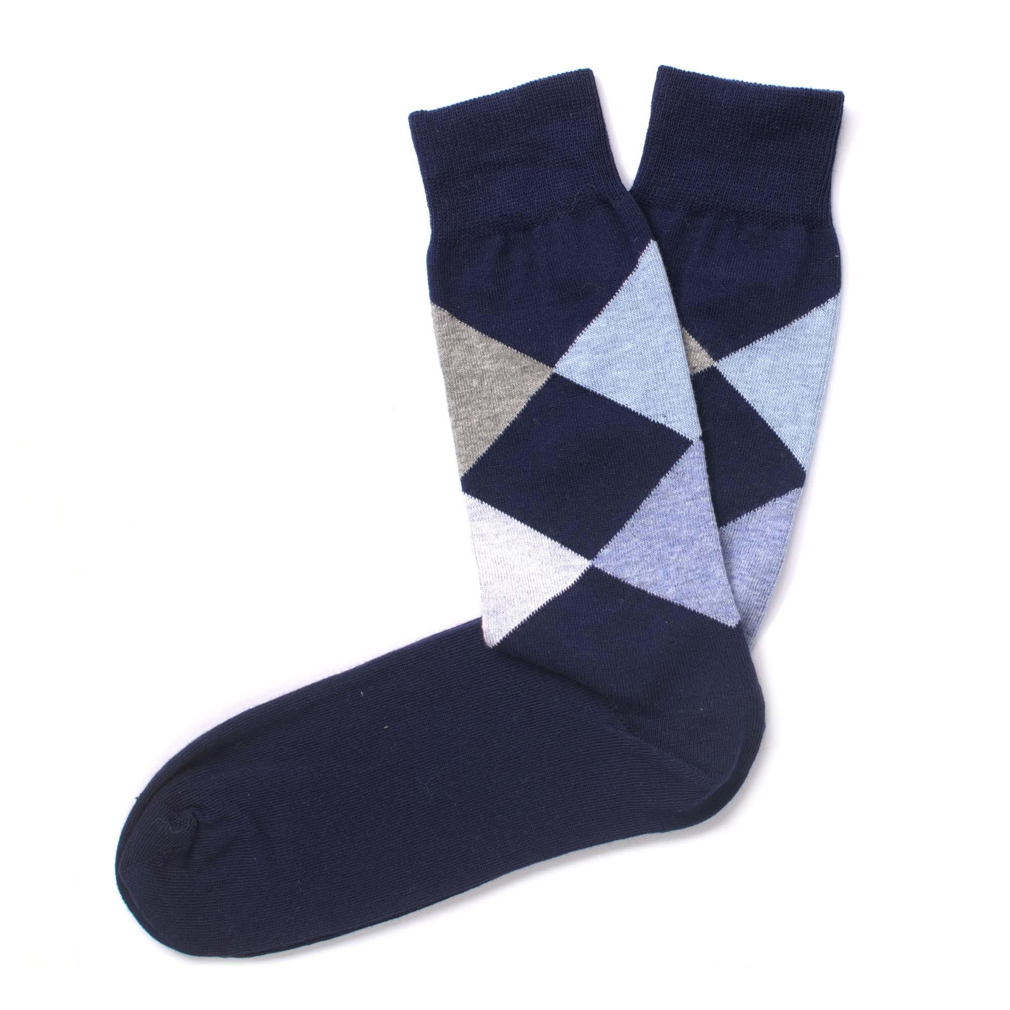 Socks navy, multi colour check