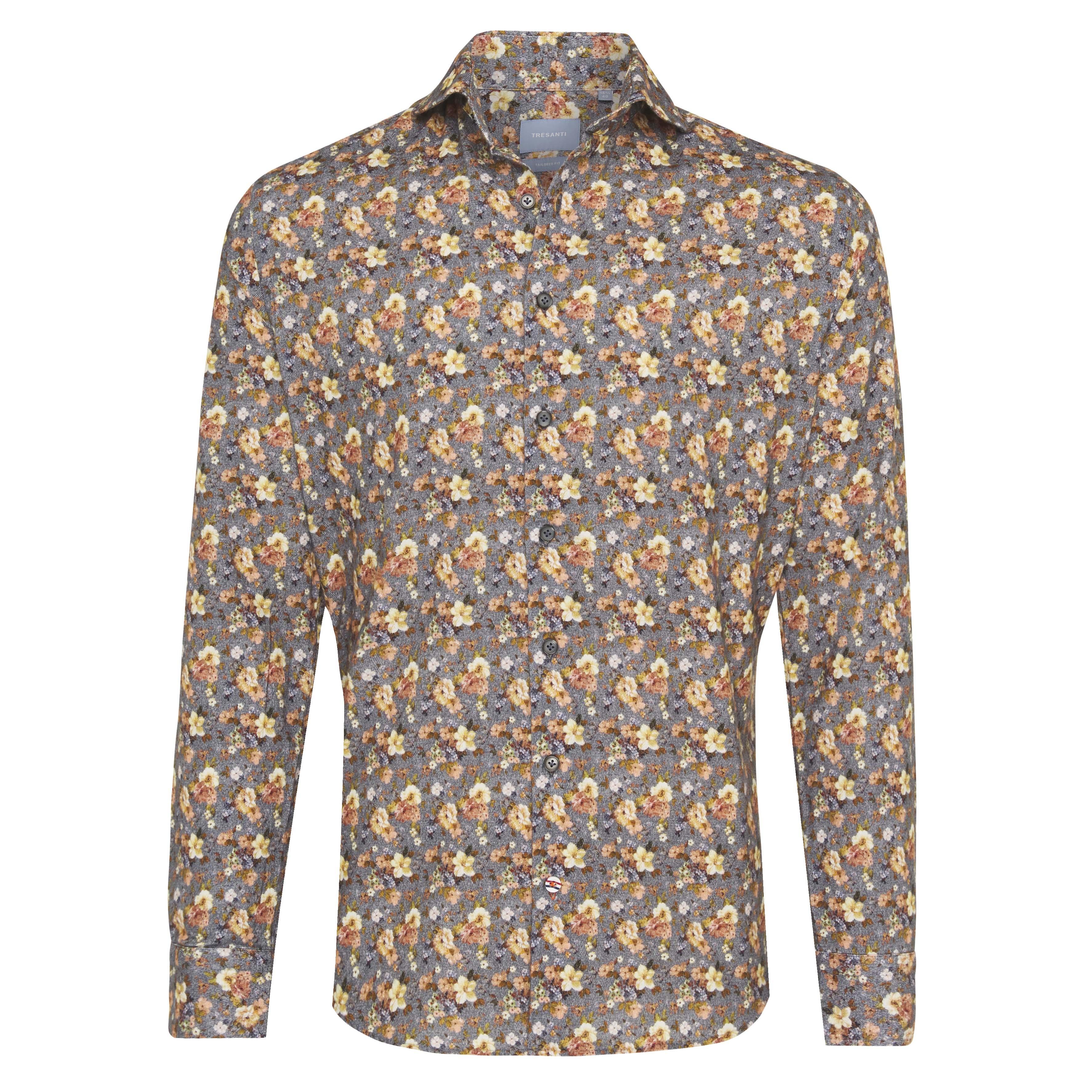 Jerano | Flower print on herringbone shirt yellow