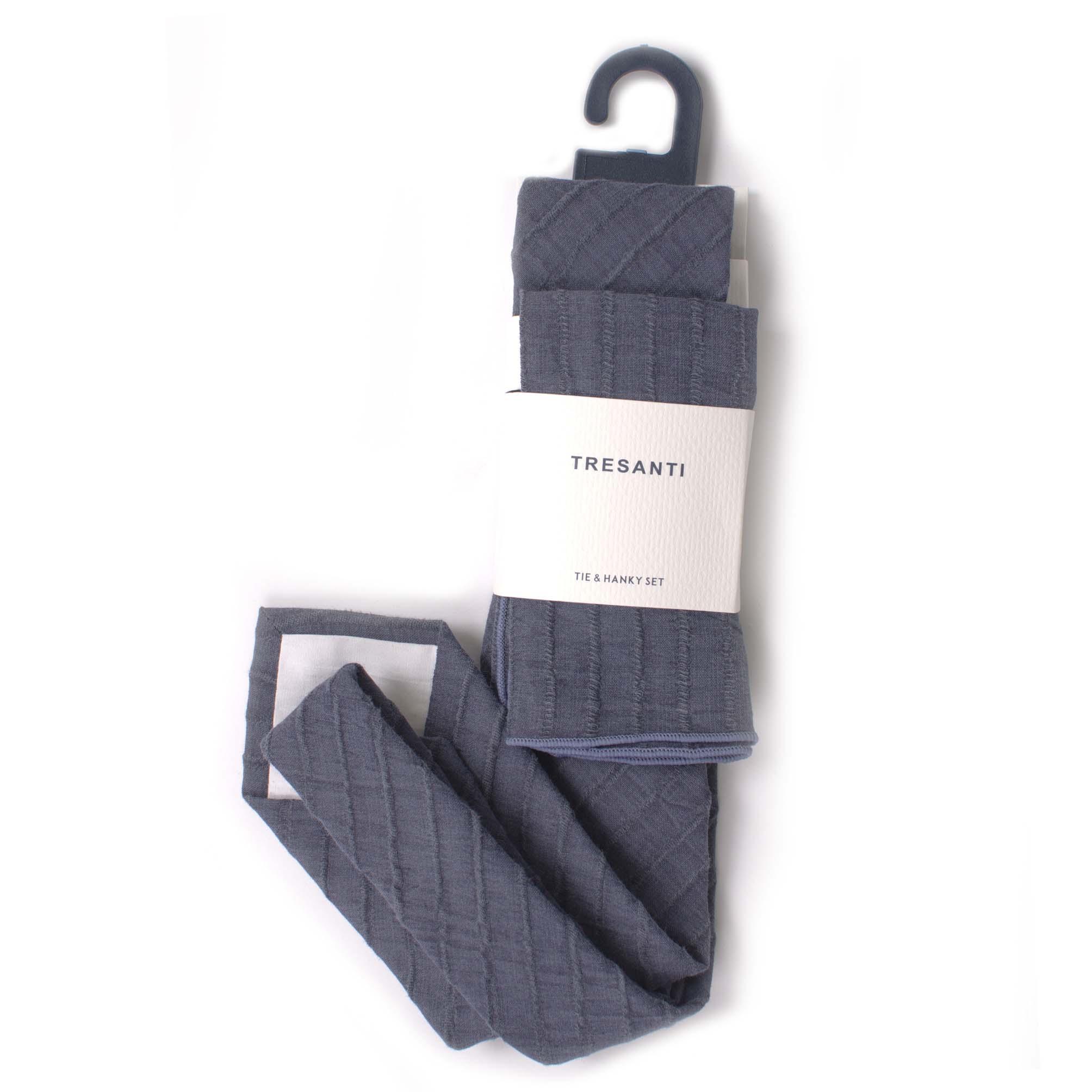 Linen set tie & hanky blue stripe