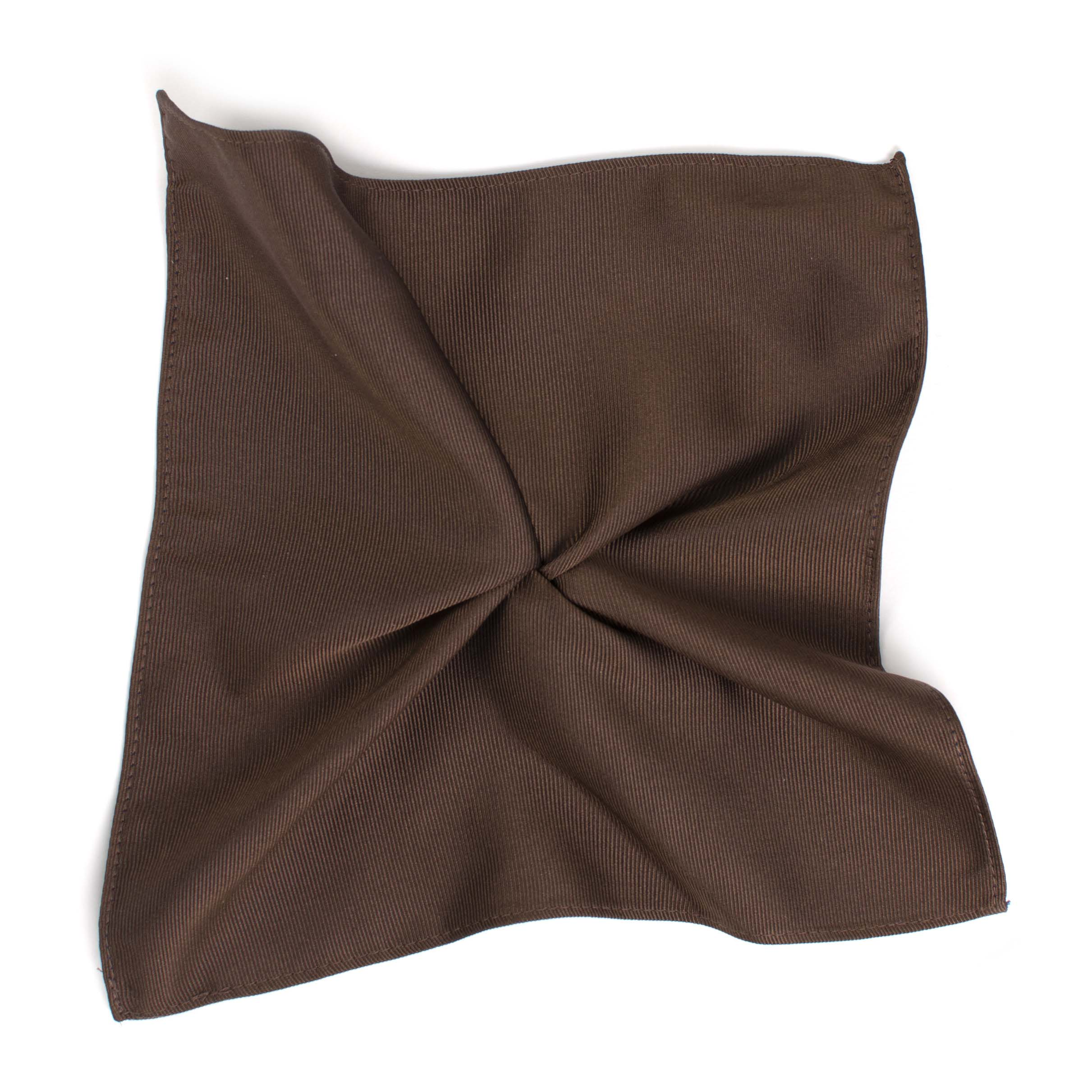 Classic brown ribbed pocket square