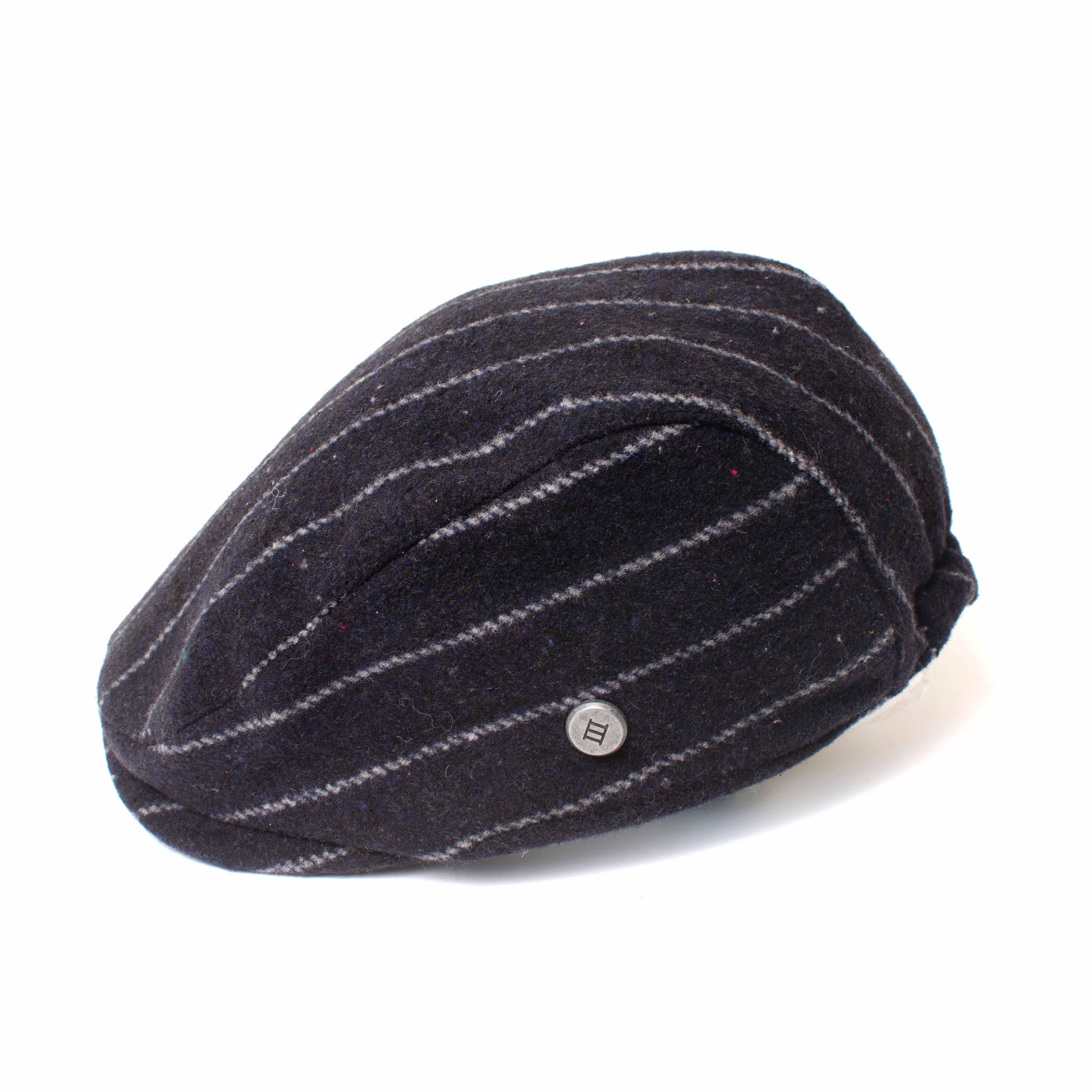 EXTON | Navy pinstripe flatcap