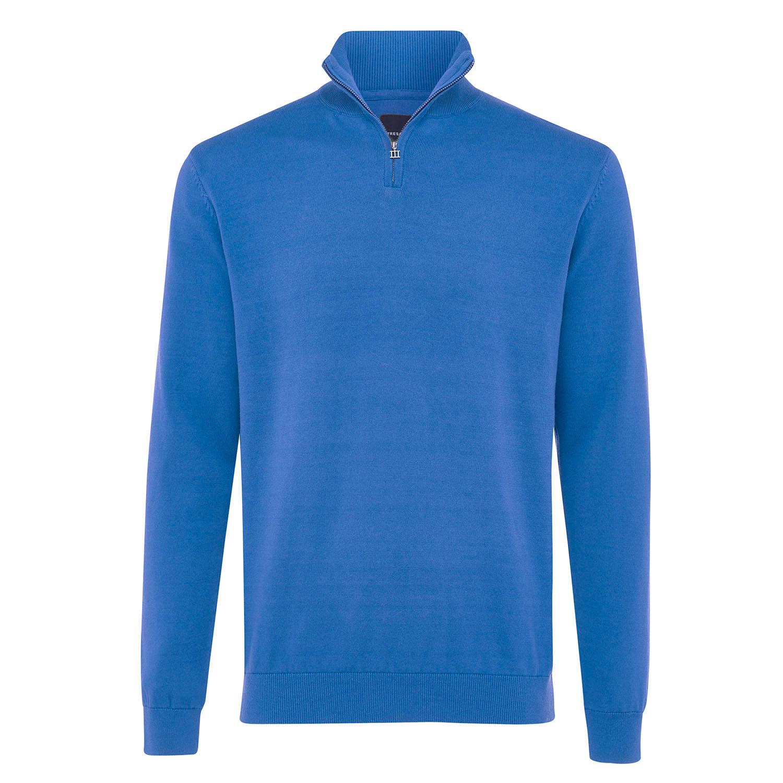 ELLIOT | Basic turtleneck with zipper closure blue
