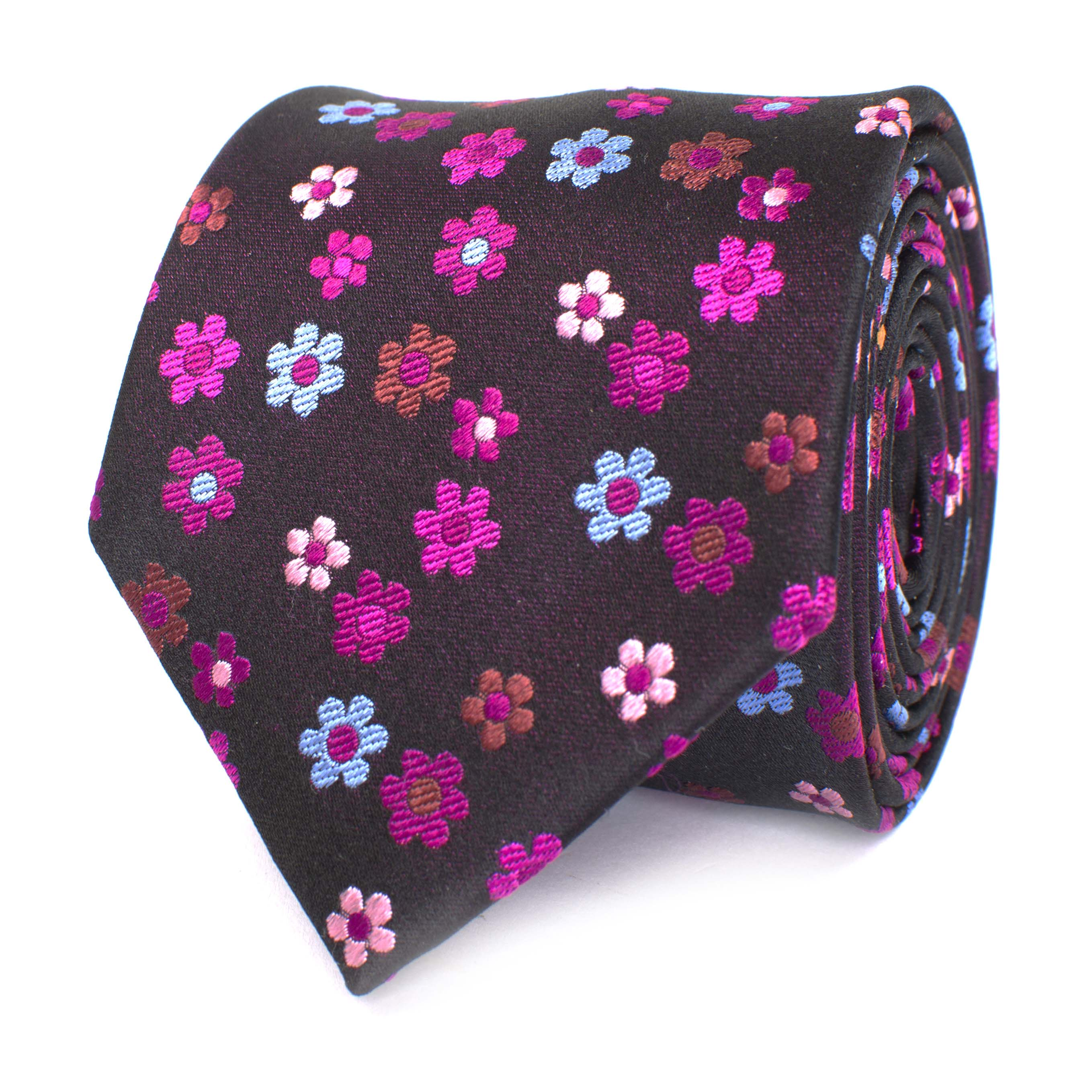 Tie fuchsia with flower design