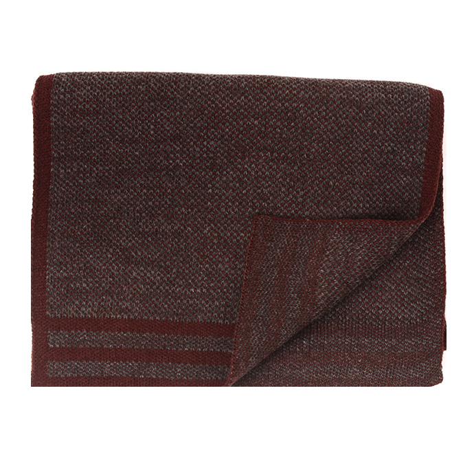 Jowin | Knitted scarf with colored border burgundy
