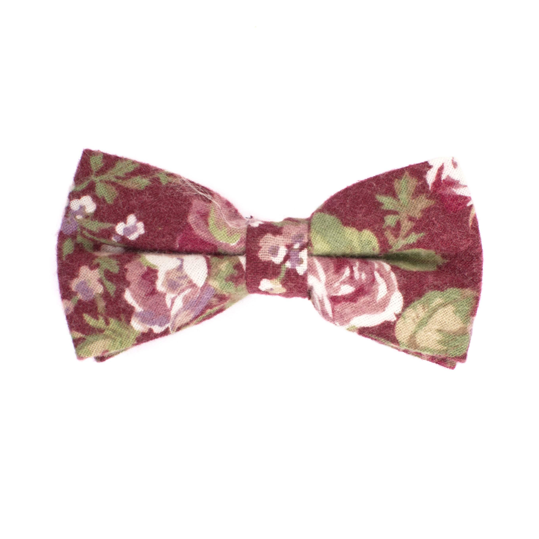 Bow tie cotton flower design burgundy