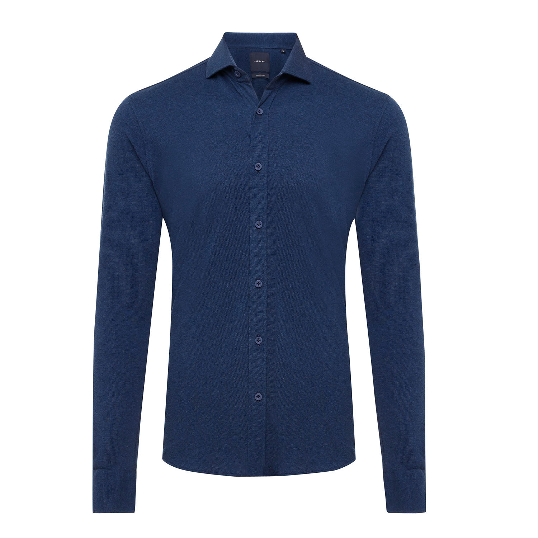 ELLIAS | Shirt with button closure, dark blue melange