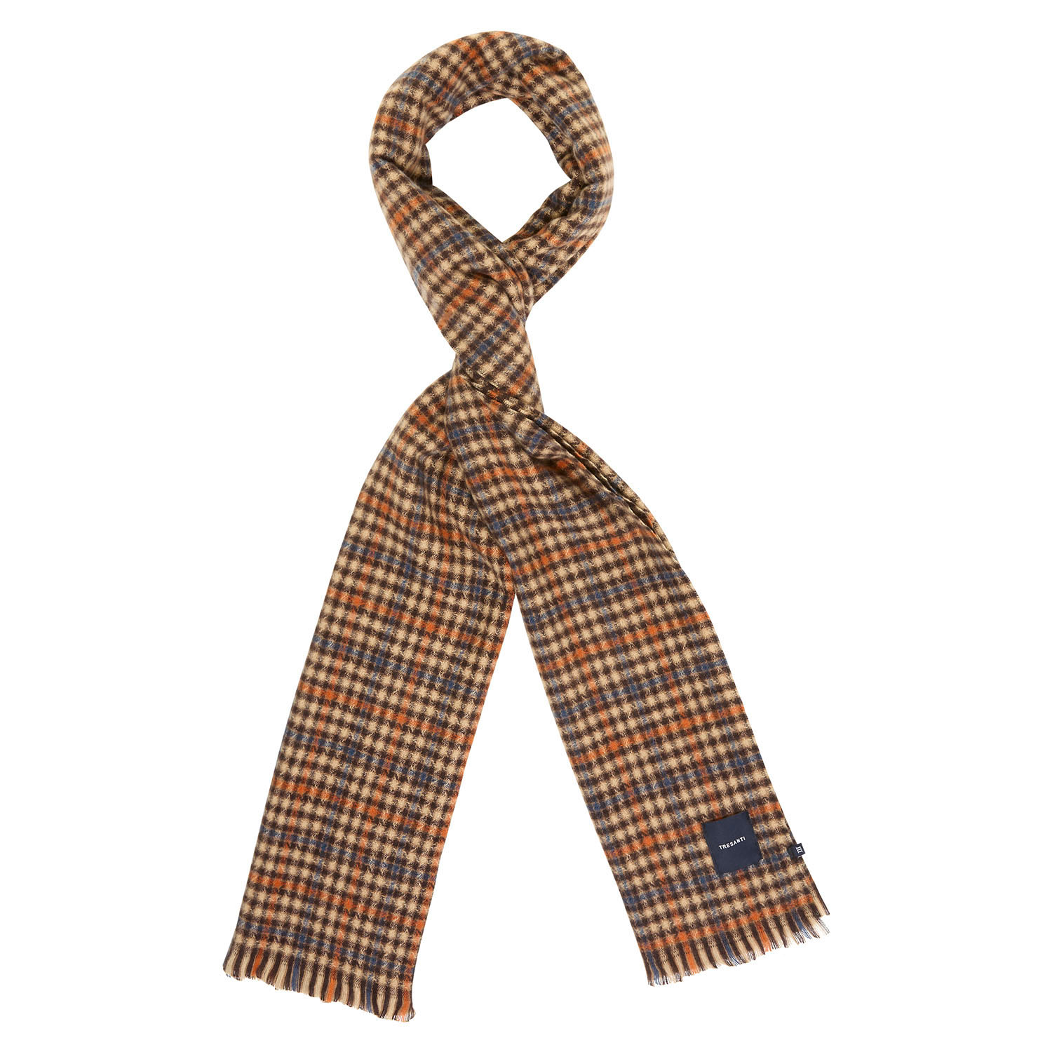 EDLIN | Checked scarf in beige with tints of blue and orange