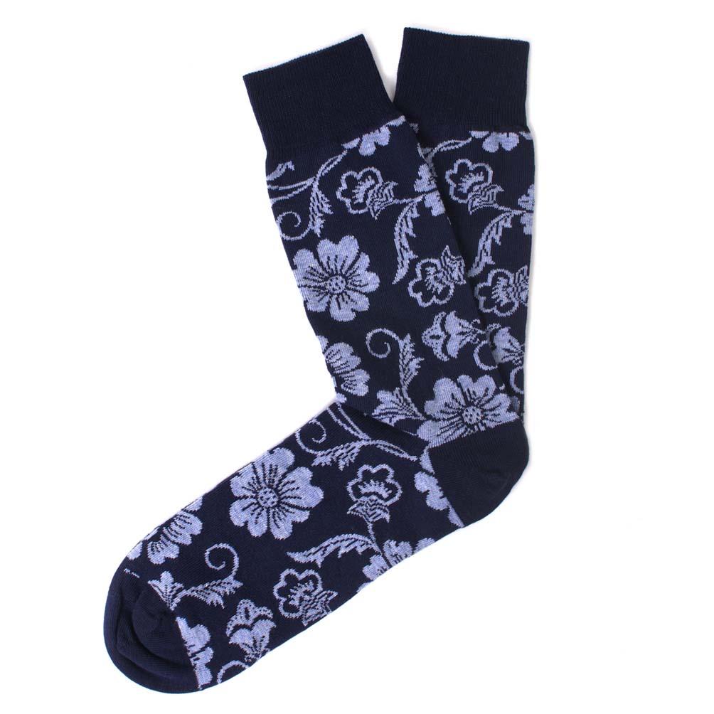 Socks cotton navy flower