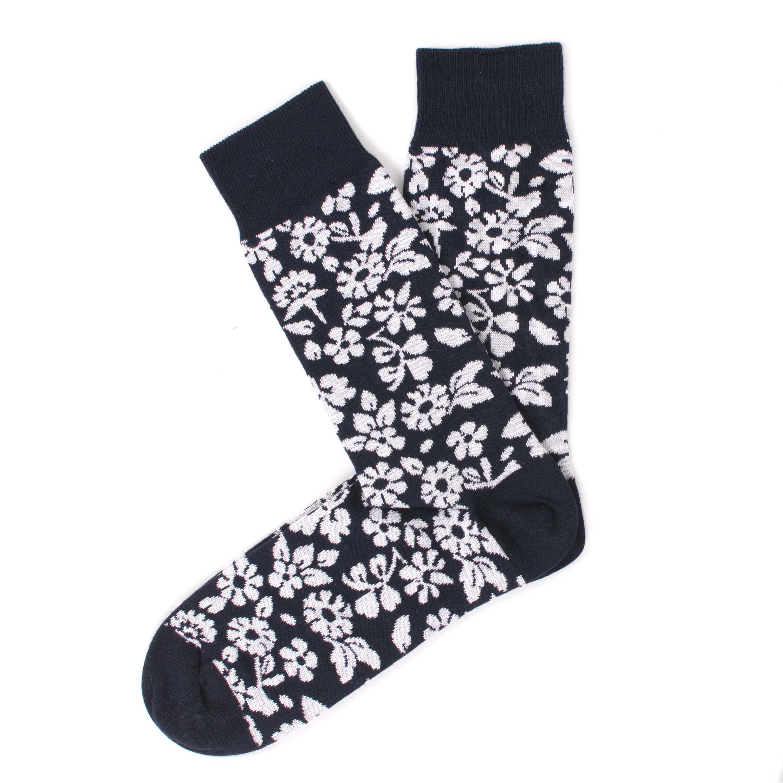 Socks navy, white flower