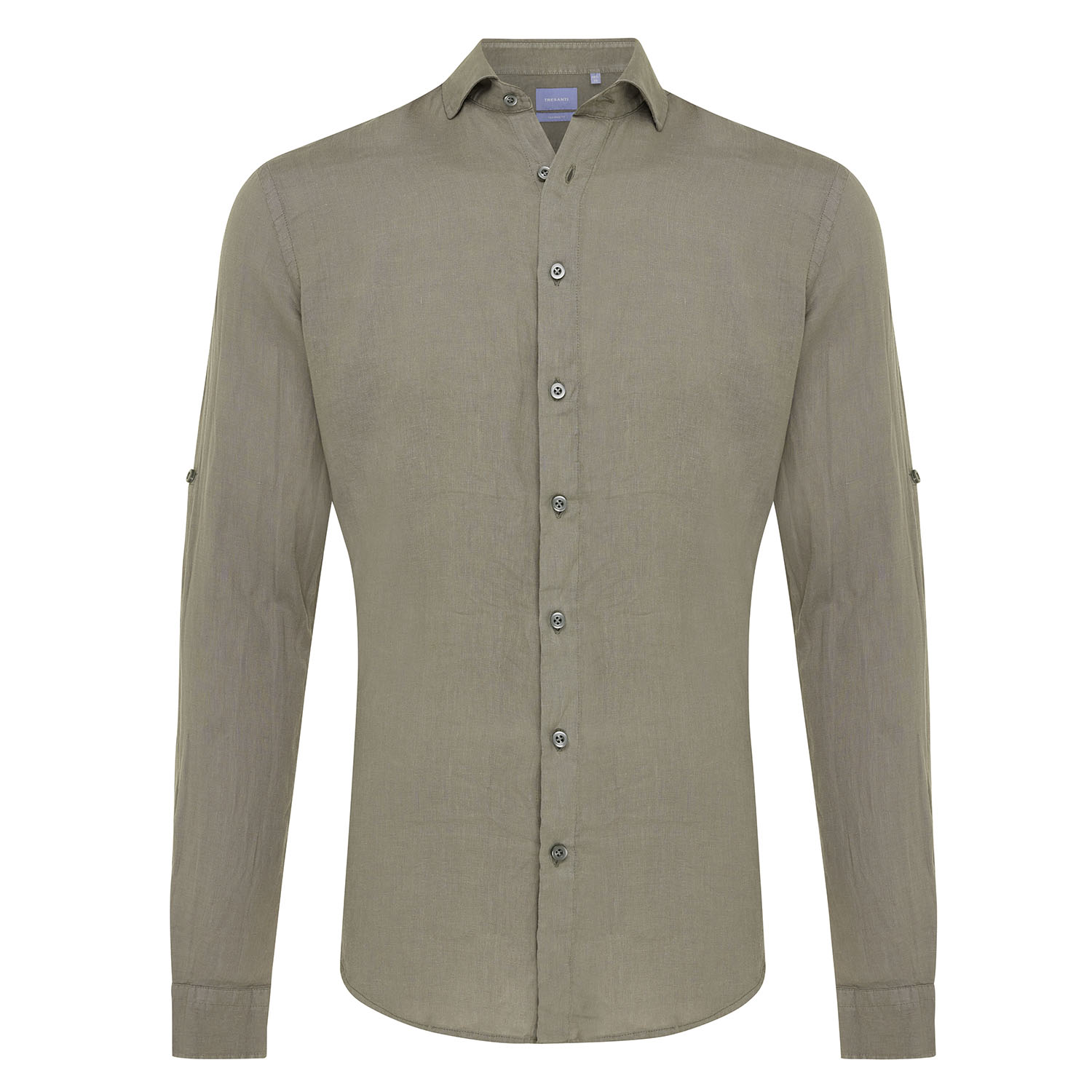 Tristan | Basic linen shirt army green