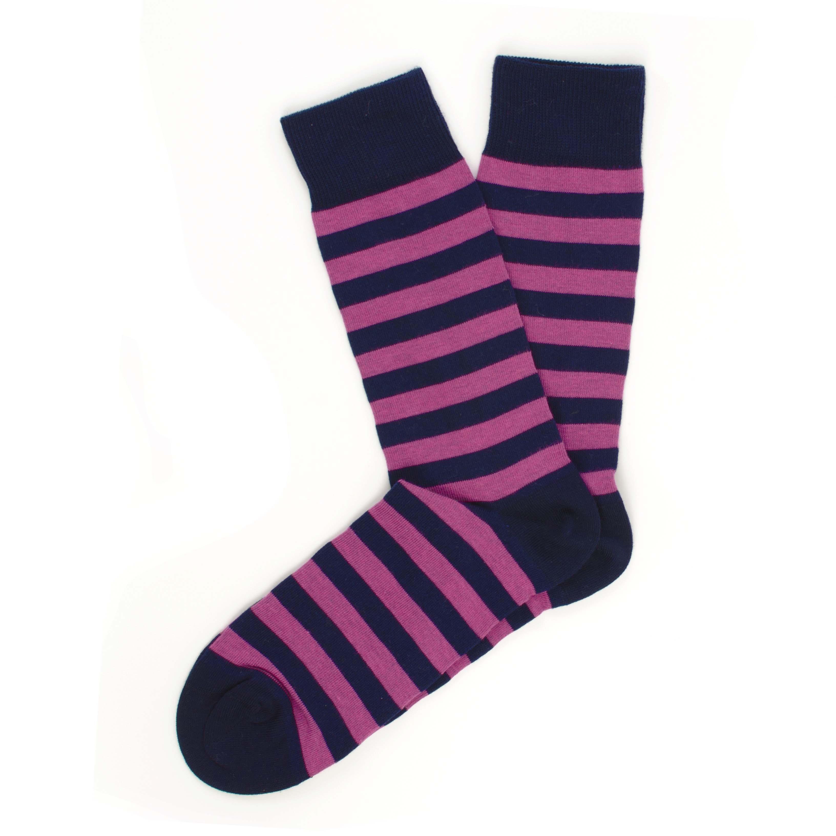 Socks navy, fuchsia stripes