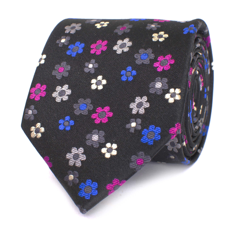 Tie with multi flower design black