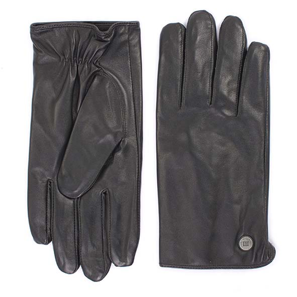 Plain black goat leather gloves