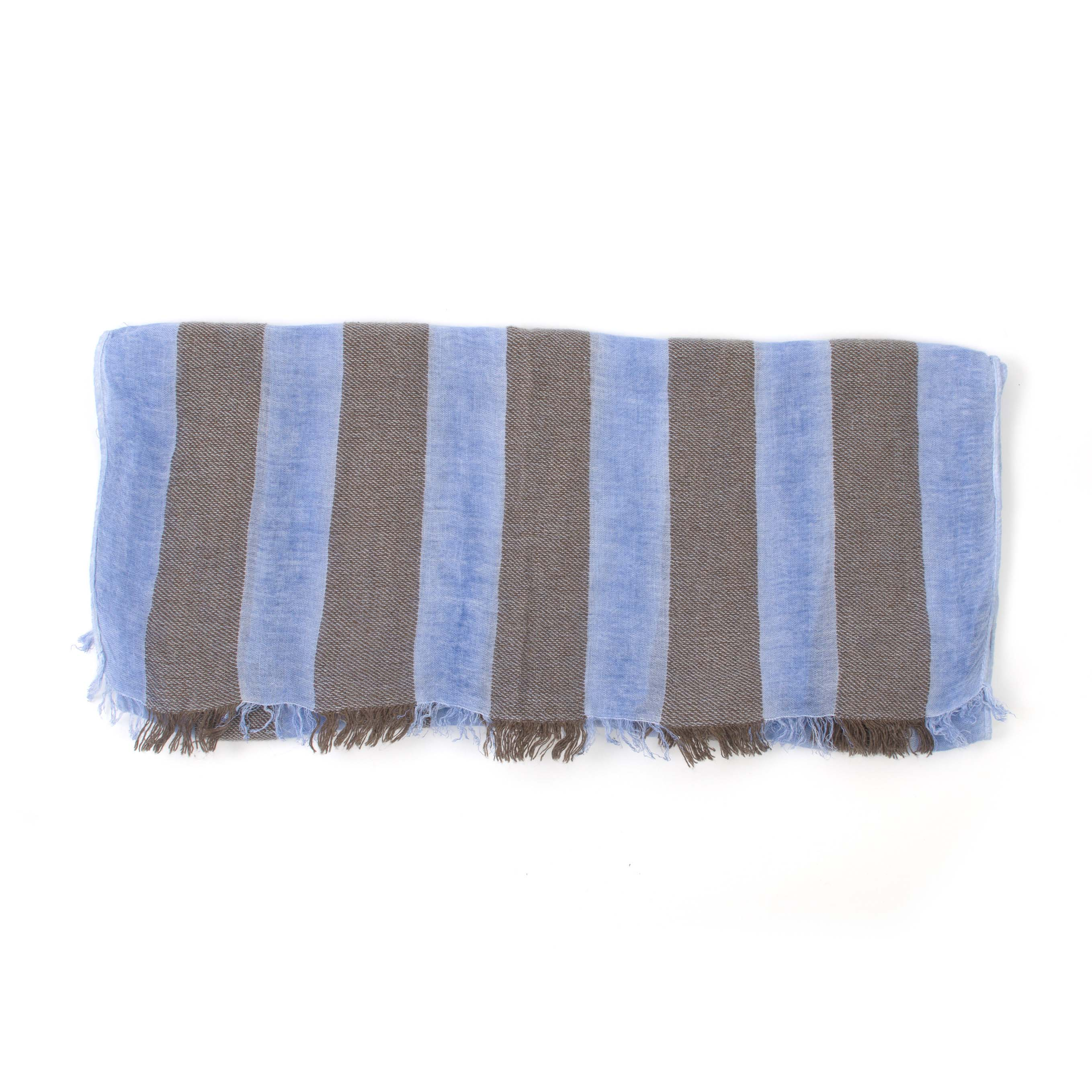 Royal with brown striped scarf, viscose/wool blend