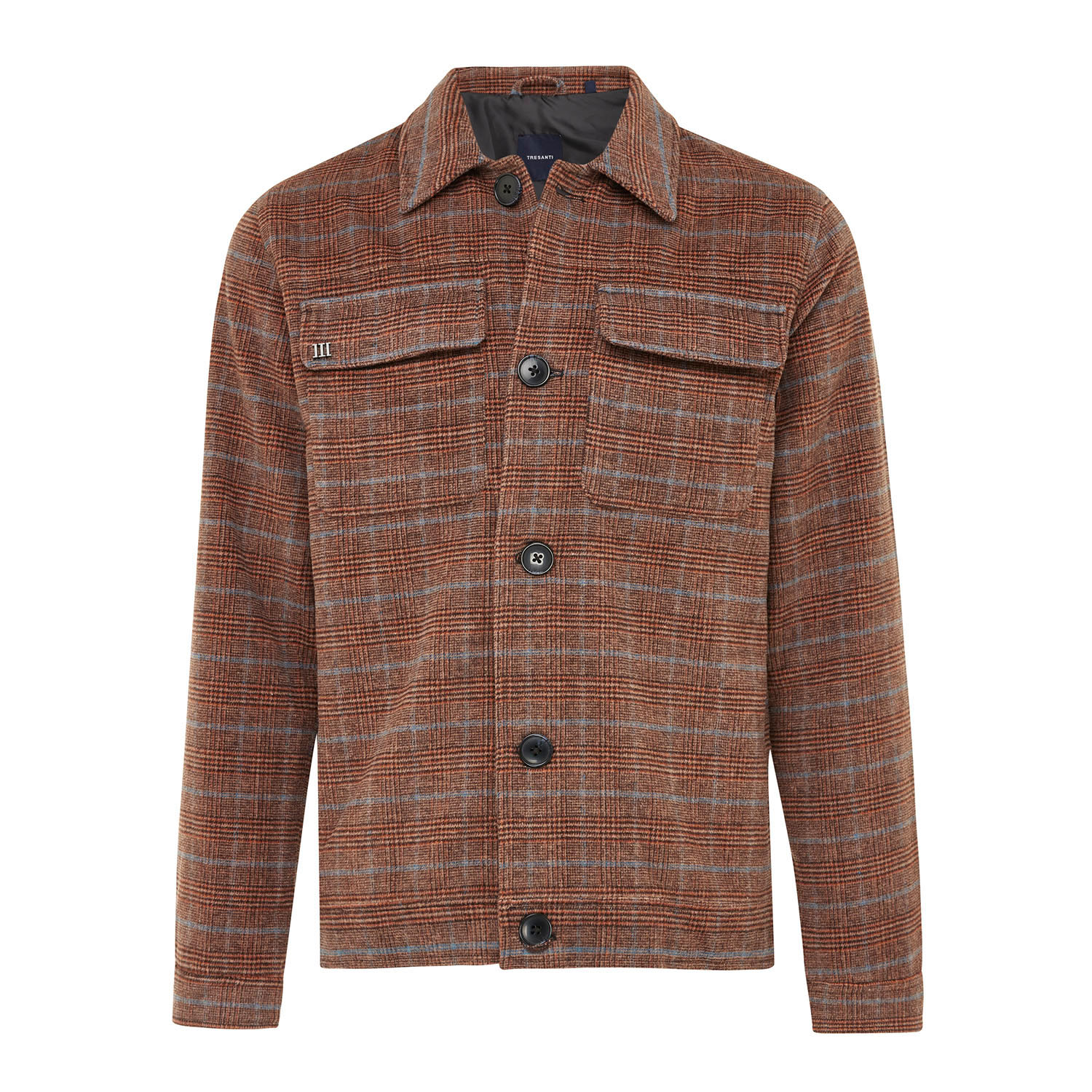 EDWIN | Lined jacket with check pattern in schades of brown and blue