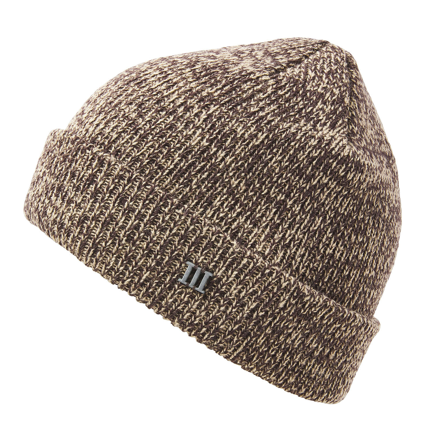 EARC | Fine knit beanie with cuff and metallic 3 in beige