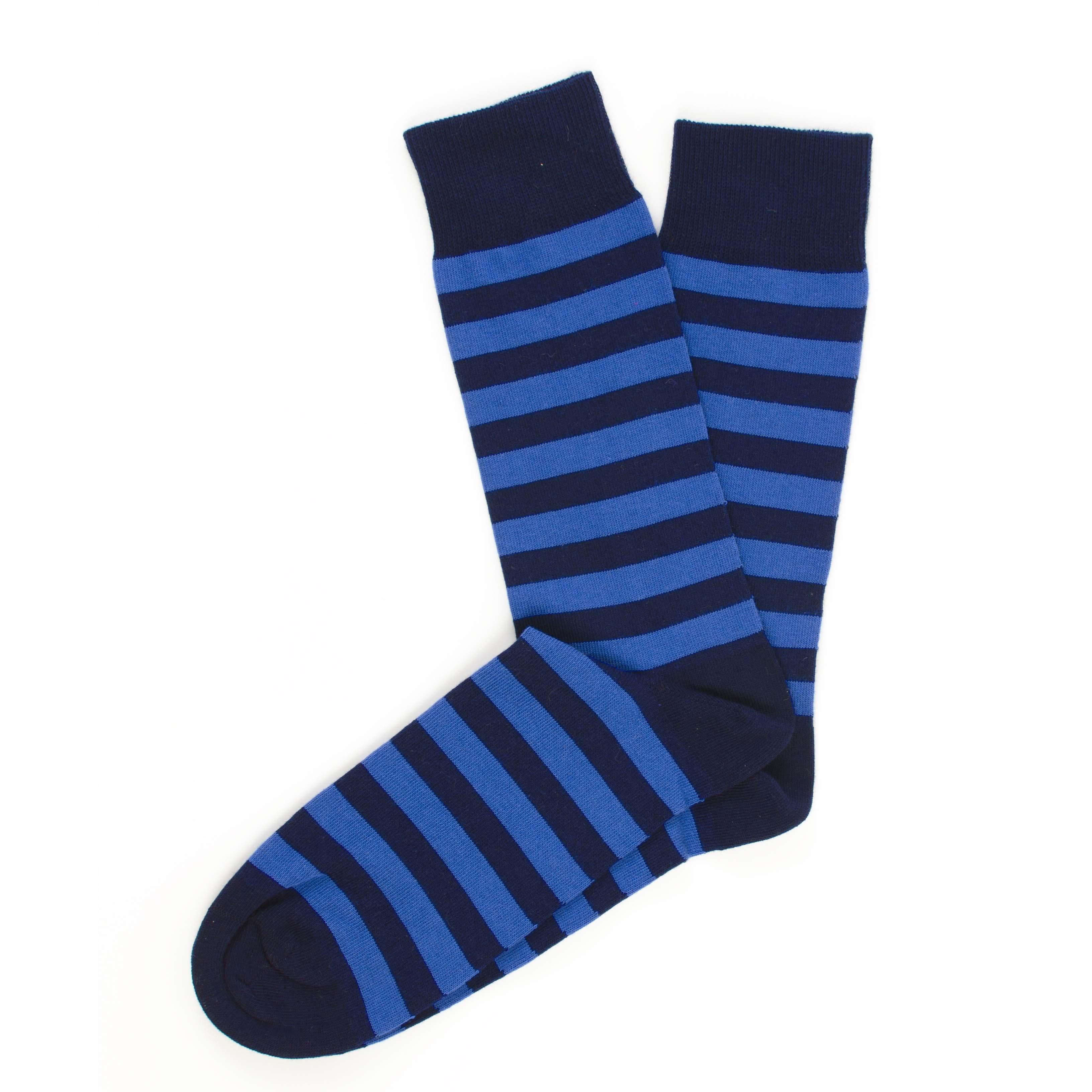 Socks navy, royal stripes
