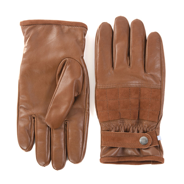 Casual leather gloves with suede