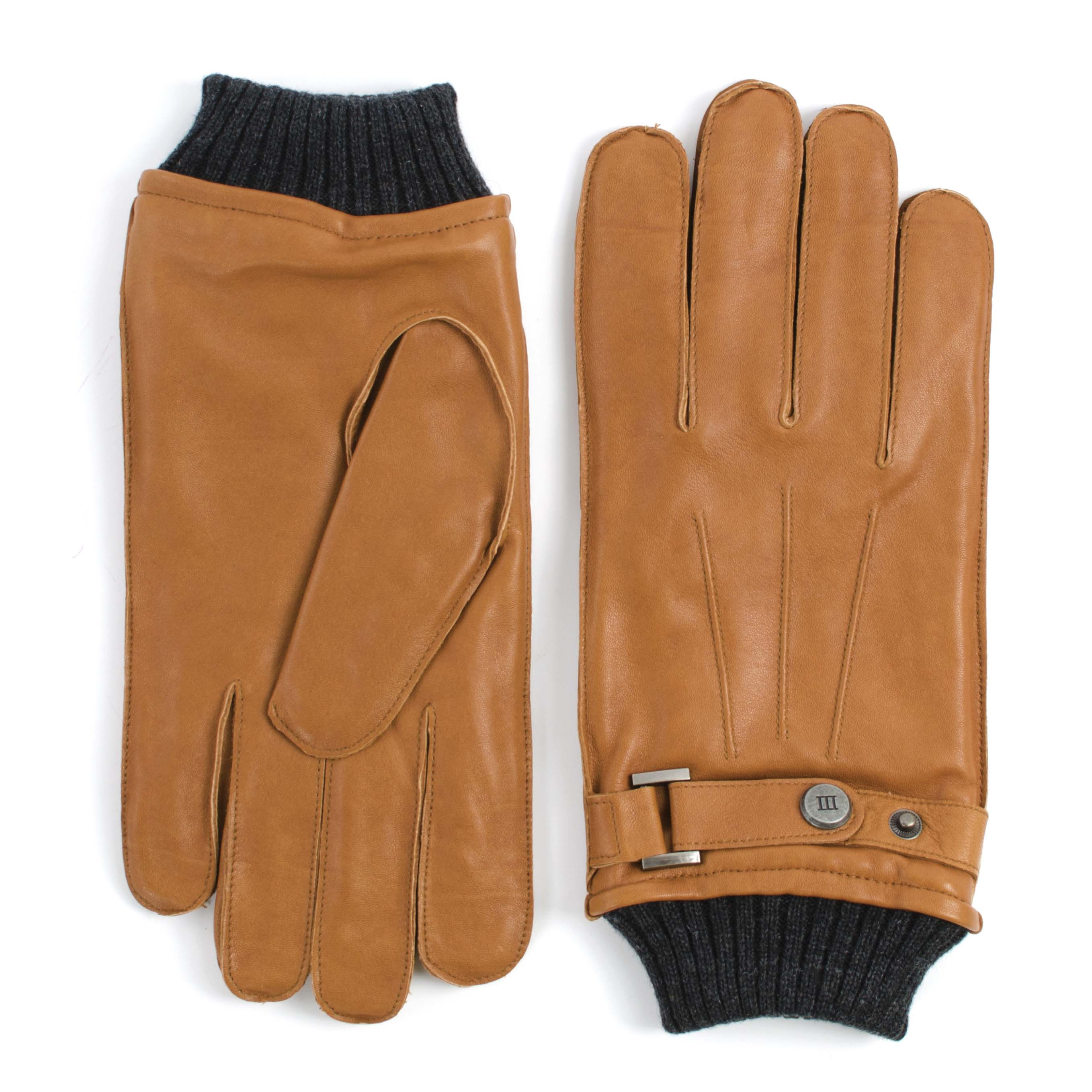Gloves knitted cuff tan analine