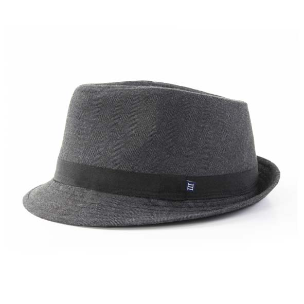 Grey hat, herringbone design