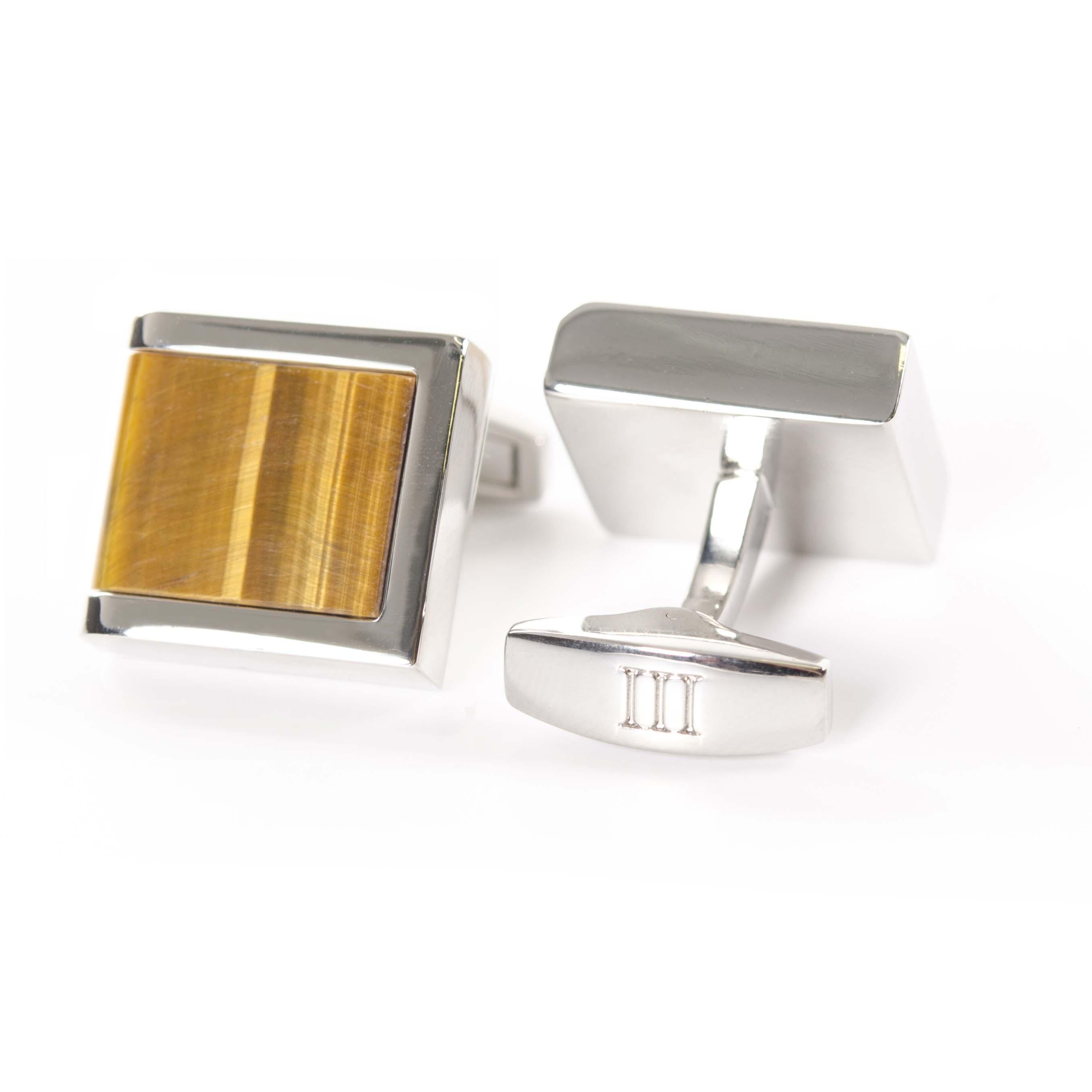 Cufflinks polished rhodium with Tiger Eye inlay
