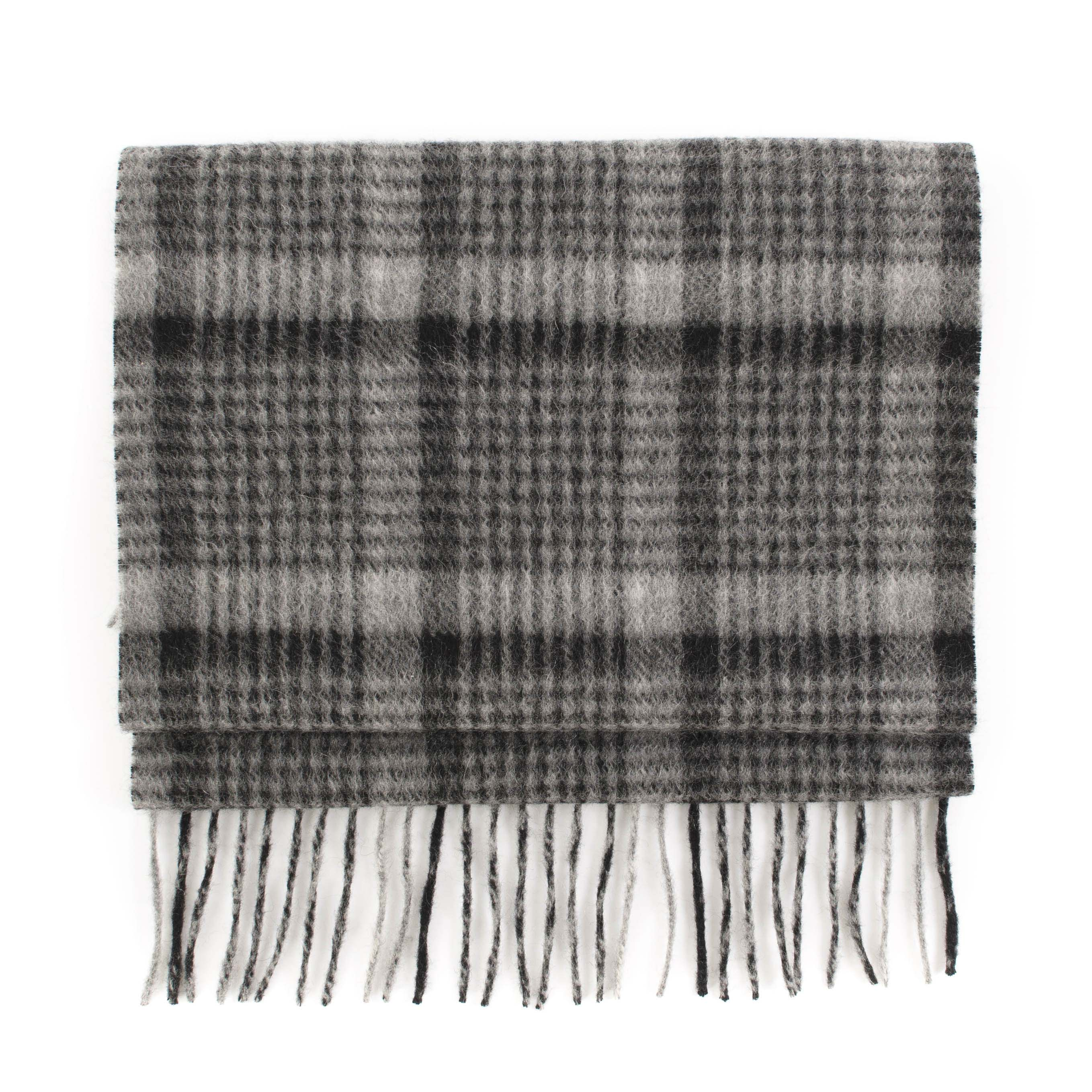 Cashmere scarf check, black, grey