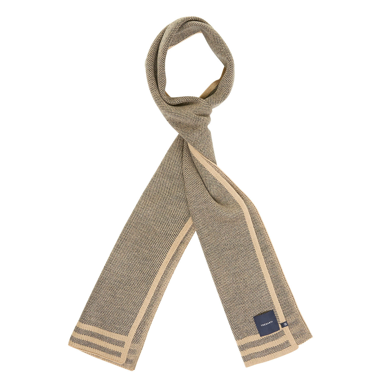 ELLWOOD | Knitted scarf with colored border beige