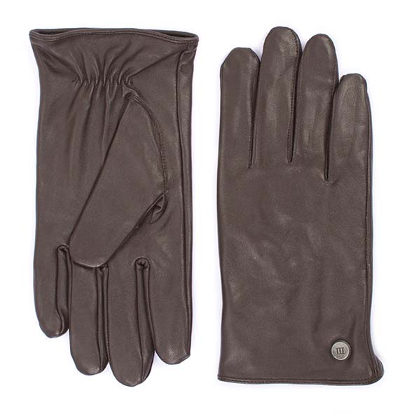 Plain brown goat leather gloves