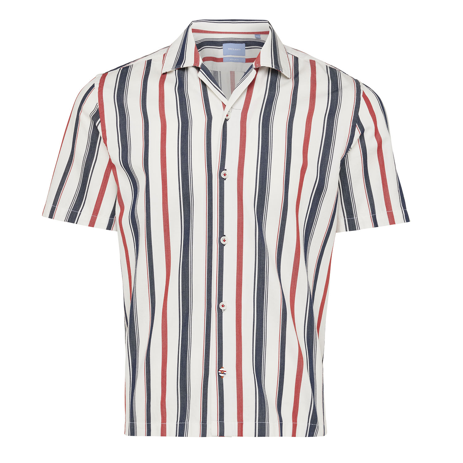 Marley | Shirt multi stripe red/navy short sleeve