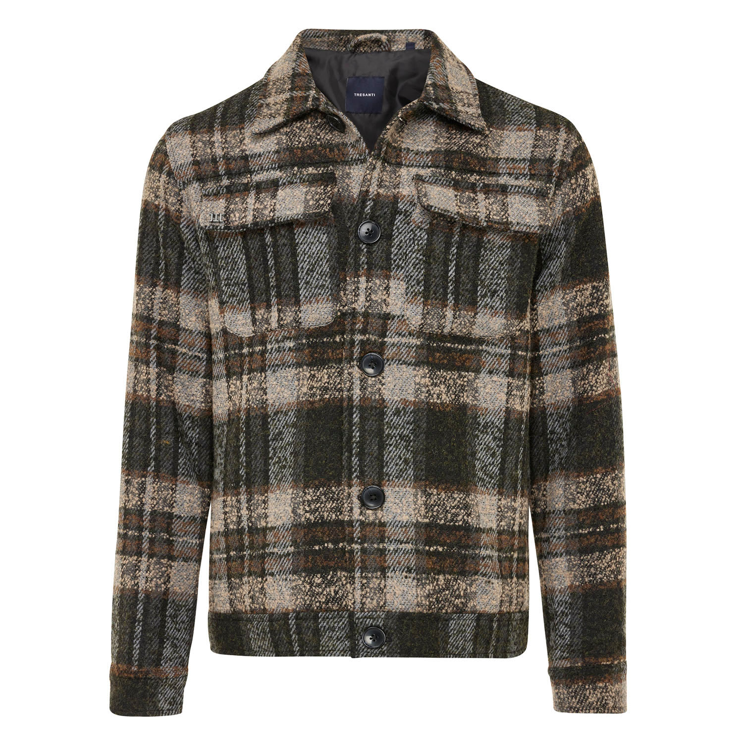 EDISON | Lined jacket with check pattern grey