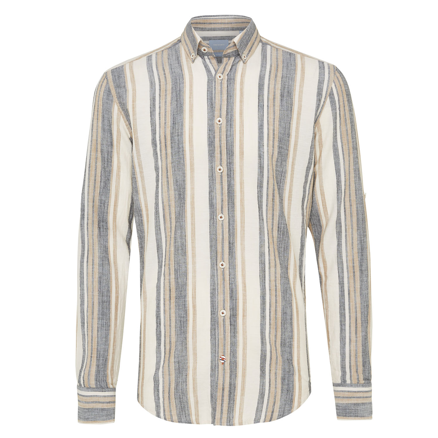 Mickey | Shirt multi stripe beige/indigo