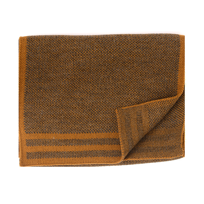 Jowin | Knitted scarf with colored border mustard