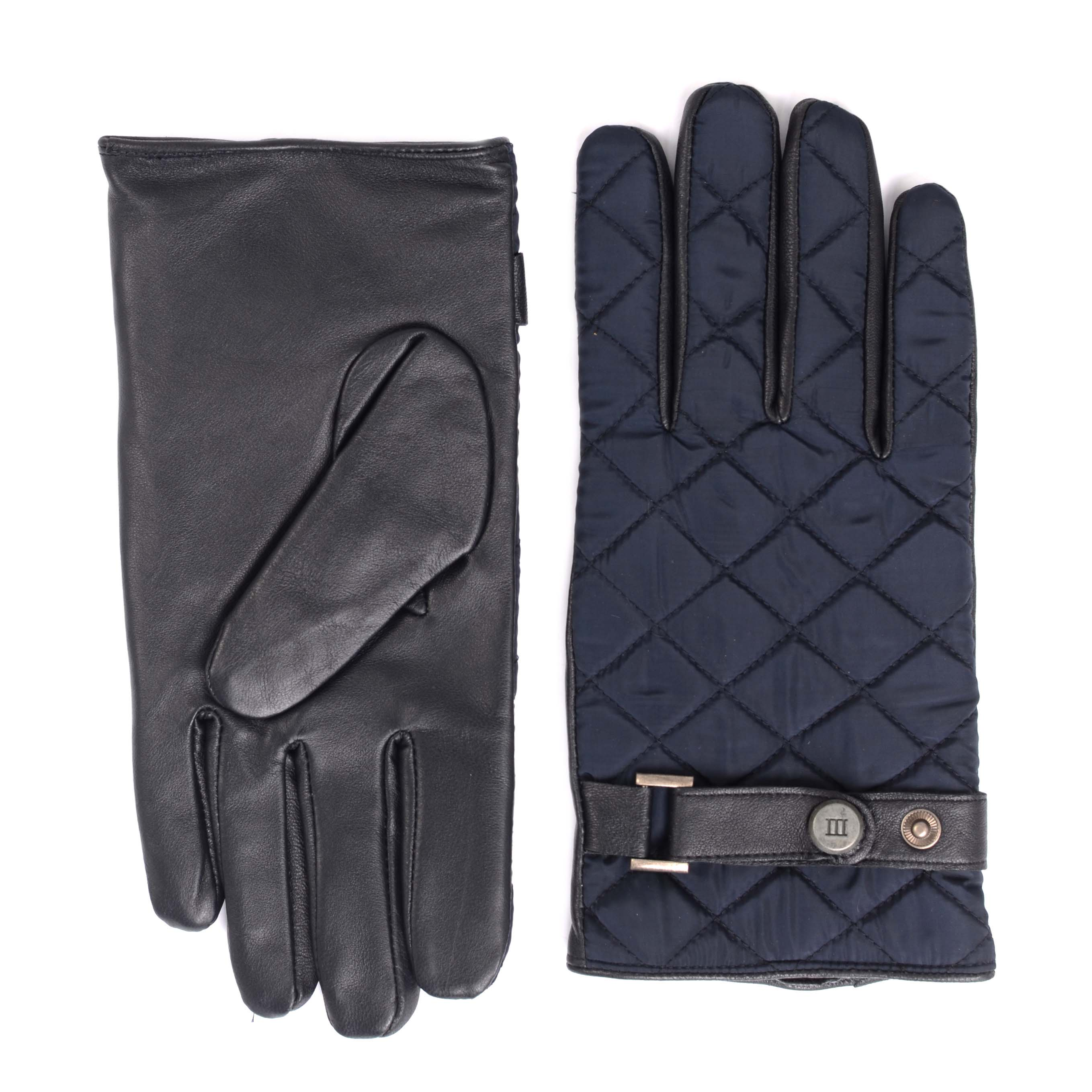 Navy sheepleather gloves with matelasse nylon back