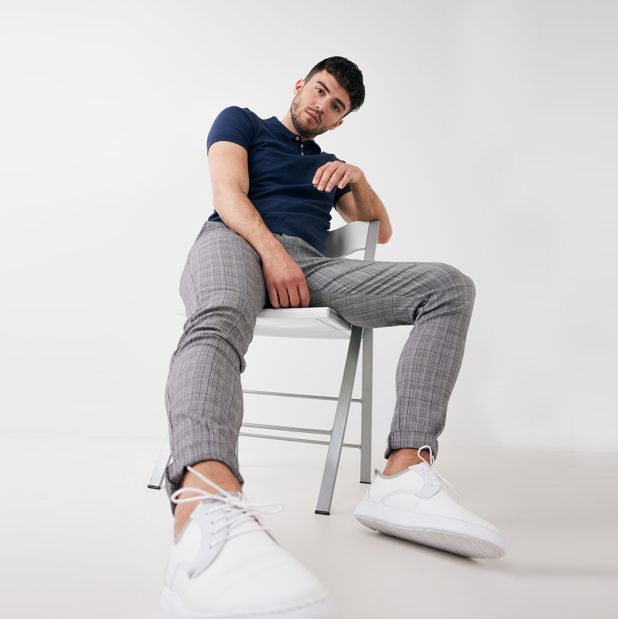 Trevor | Pullover short sleeve cotton/cashmere indigo