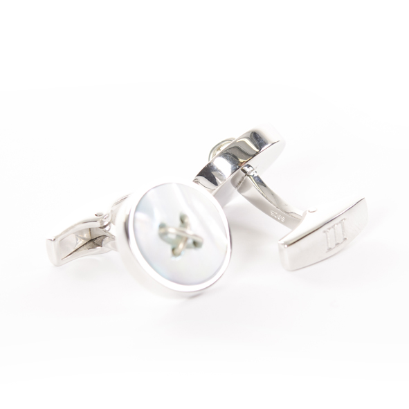 Cufflinks Sterling Silver with blue Mother of Pearl inlay