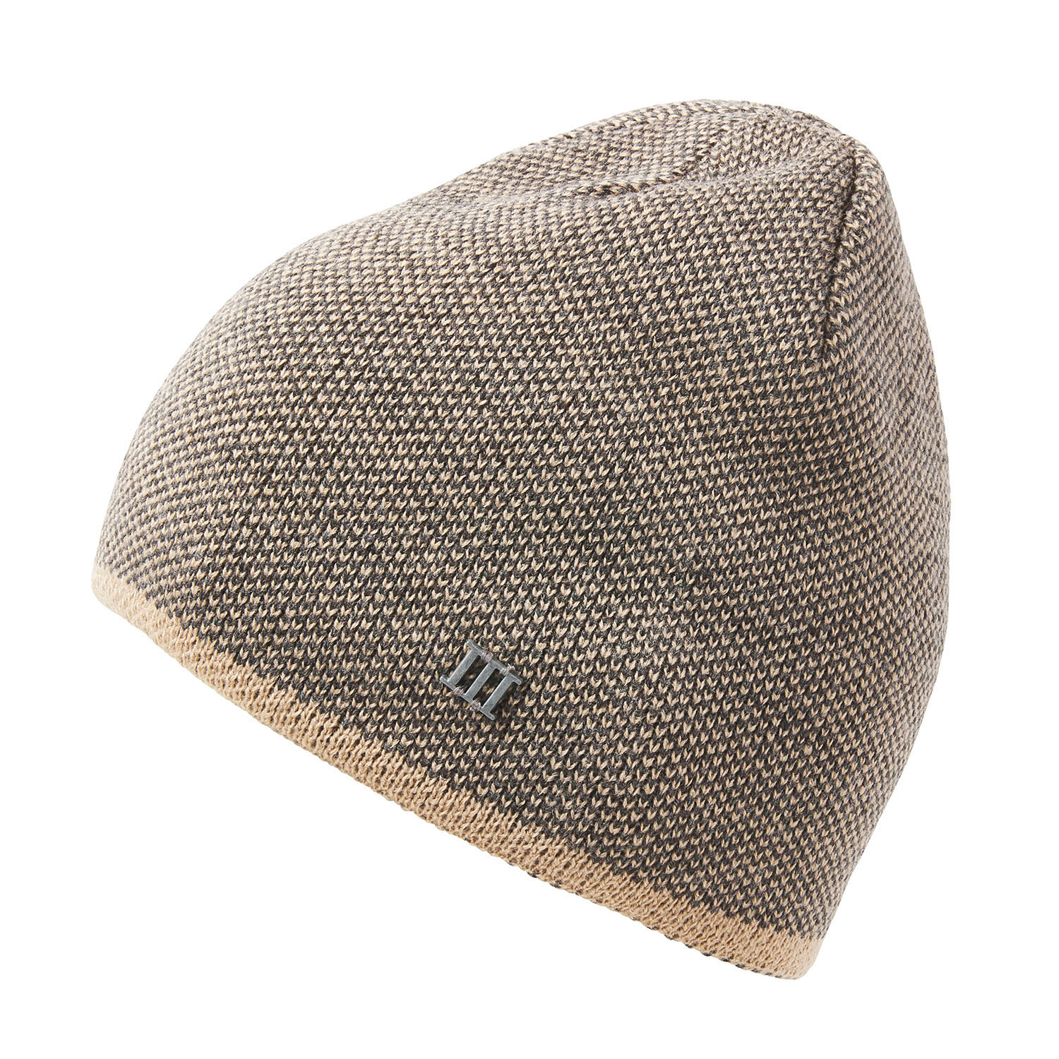EASTMAN | Fine knitted beanie with colored border in beige