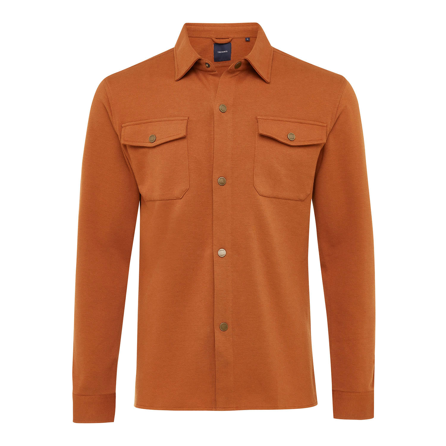 ELEVEN   Jersey overshirt with button closure cognac