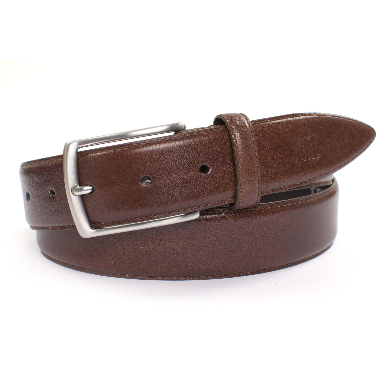 Belt cognac stitched leather