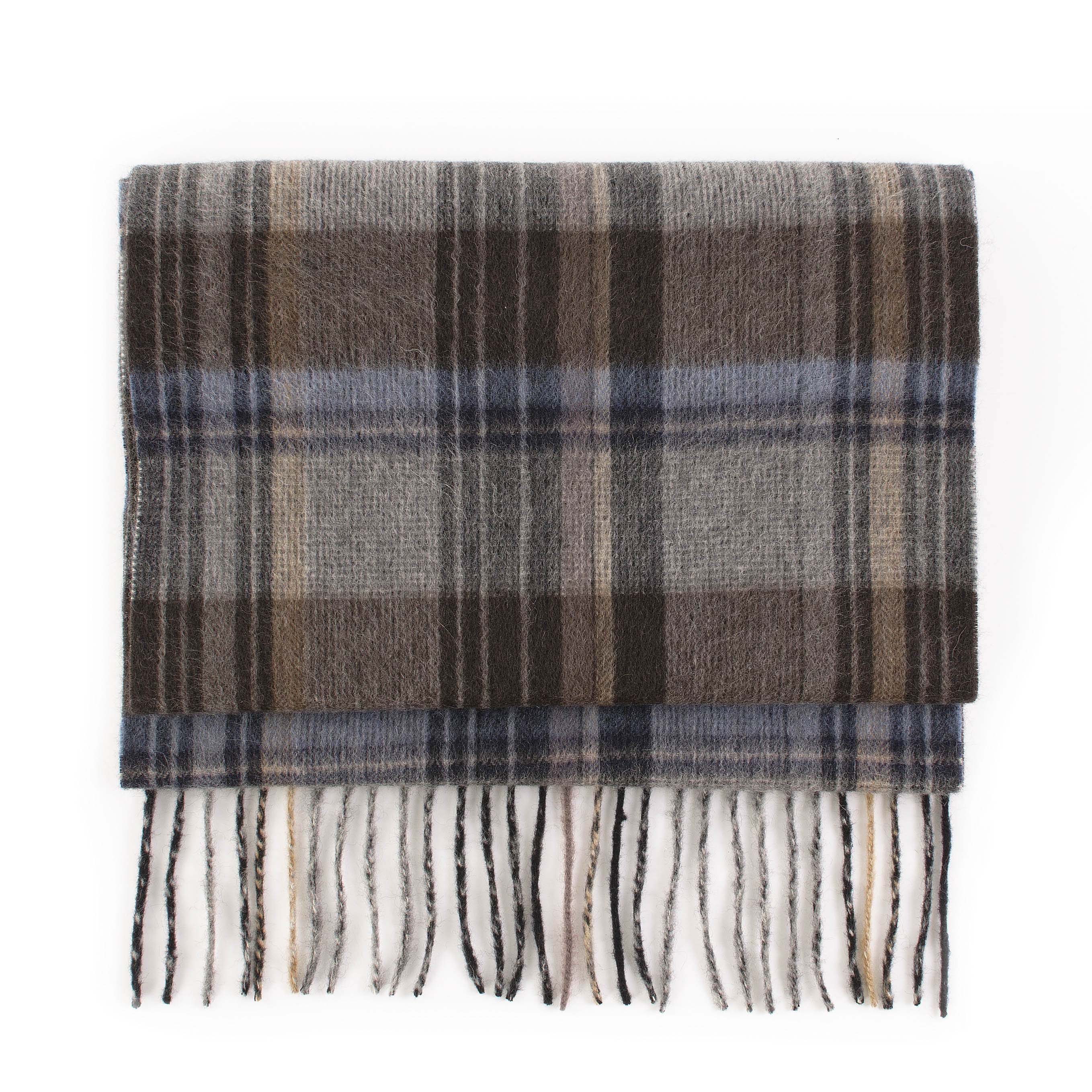 Cashmere scarf check, blue, grey, brown