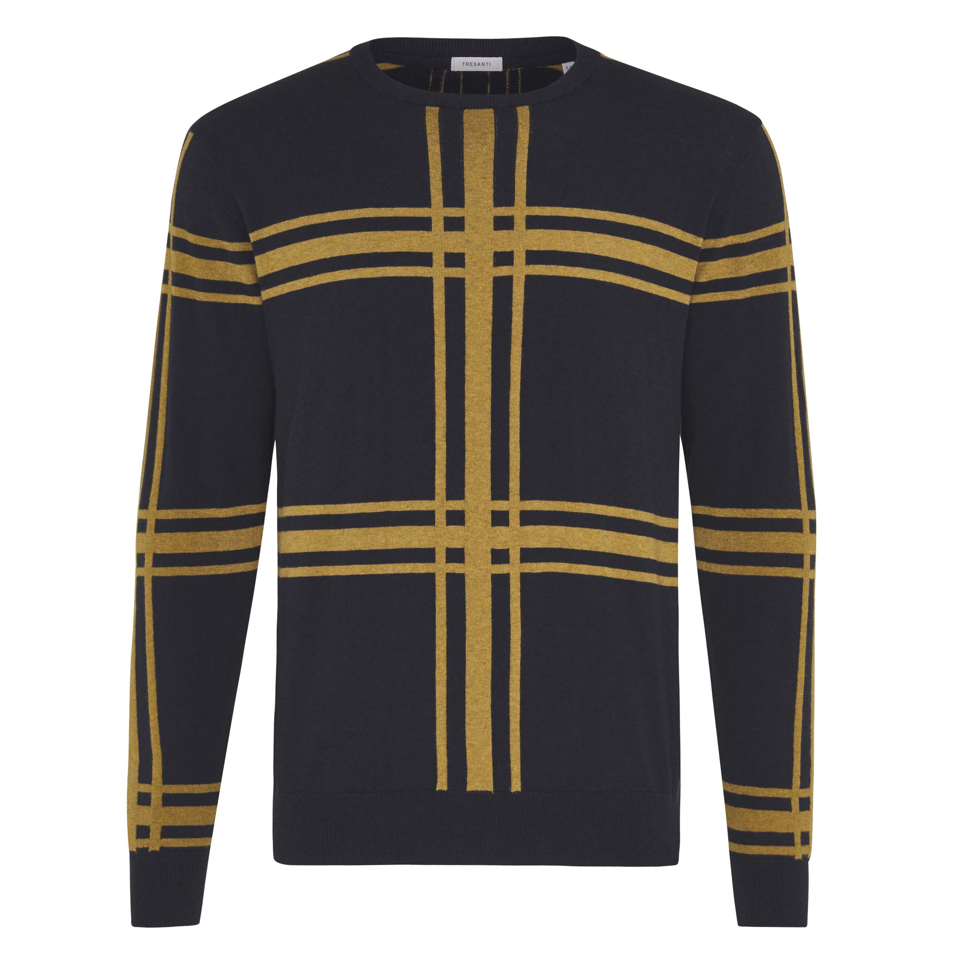 Jorik | Pullover check ocher yellow